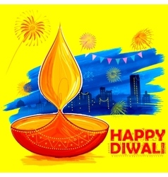 Burning diya on Happy Diwali Holiday watercolor vector image