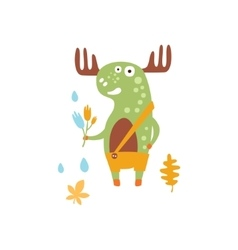 Green moose wearing uellow pants with suspender vector