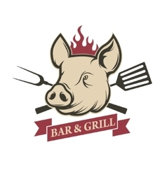 Bar and grill pig head with kitchen tools vector