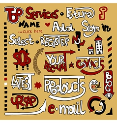 Set of hand draw lettering web design element vector