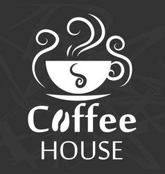 Coffee house logo design with cup silhouette on vector