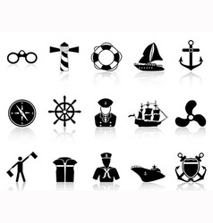 Black sailing icons vector
