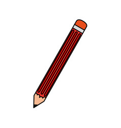 Colorful caricature image pencil element to write vector