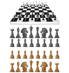 chessboard and different chess pieces vector image