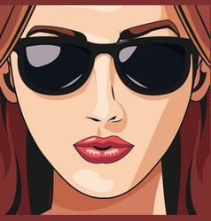 Woman face lipstick beautiful young vector