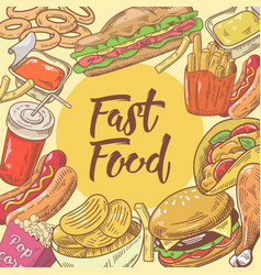 Fast food hand drawn design with burger fries vector