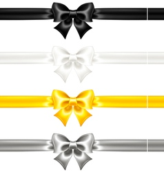 Silk bows black and gold with ribbons vector image