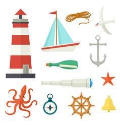 Big set of flat cartoon style nautical elements vector