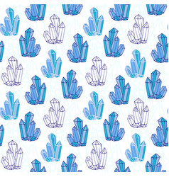 Blue crystals seamless pattern minerals rocks vector