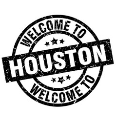 Welcome to houston black stamp vector