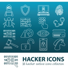 Hacker outline icons vector