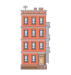 - new york united states red brick old building vector
