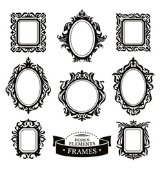 Set of vintage baroque frames vector