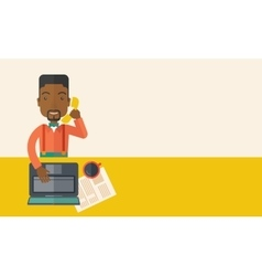 African office man sitting at his working desk vector