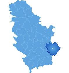 Map of serbia subdivision pirot district vector