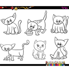 Cats set cartoon coloring page vector
