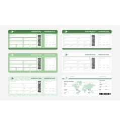 Tickets set green vector