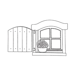 Window with potflower vector