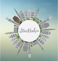Stockholm skyline with gray buildings vector