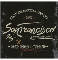 Vintage trademark with san francisco city text vector
