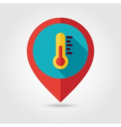 Thermometer flat pin map icon weather vector