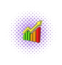Business growing chart icon comics style vector