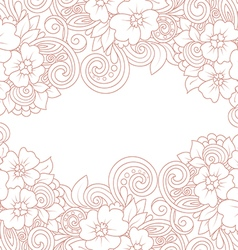 card template with floral pattern vector image