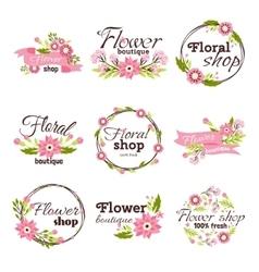 Bright sign flower shop vector