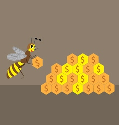 a bee builds a honeycomb of money vector image vector image