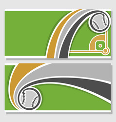 banners with baseball diamond vector image vector image