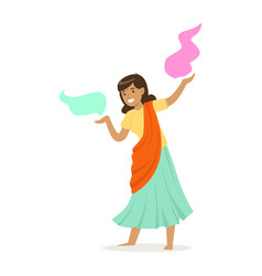 Beautiful indian woman in a sari dancing national vector