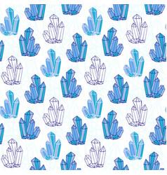 Blue crystals seamless pattern minerals rocks vector