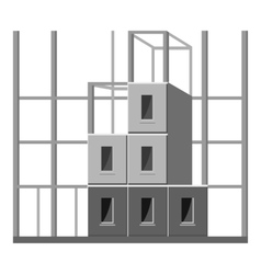 Building construction icon gray monochrome style vector