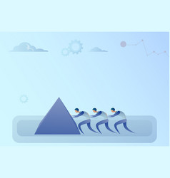 Business people group pushing stone together vector