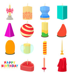 Candle forms icons set cartoon style vector