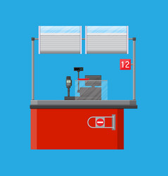 Cashier counter workplace vector
