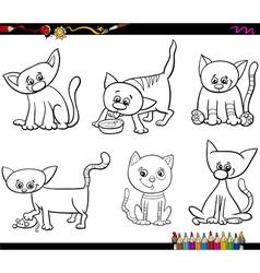 cats set cartoon coloring page vector image vector image