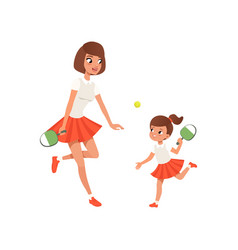 Cheerful mom and her daughter playing ping pong vector