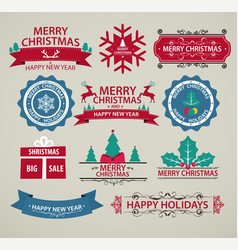 christmas decoration set of calligraphy vector image