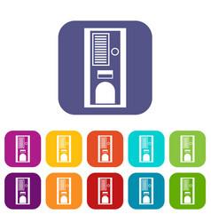 Coffee vending machine icons set vector