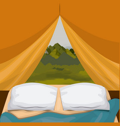 Colorful background interior camping tent with pad vector