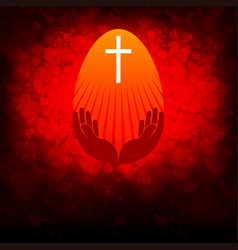 crimson background with easter egg vector image