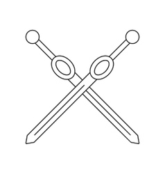 Cross rapiers thin line icon vector image