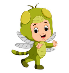 cute boy cartoon wearing dragonfly costume vector image