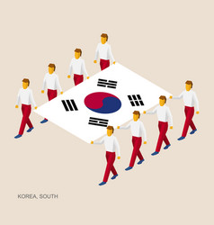 Eight people hold big flag of south korea vector