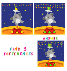Find five differences children educational game vector