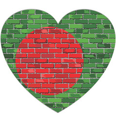 flag of bangladesh on a brick wall in heart shape vector image