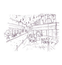 freehand sketch of european outdoor cafe or vector image