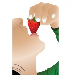 girl eating strawberry vector image vector image