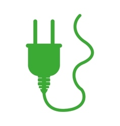 green silhouette plug connector with cord vector image